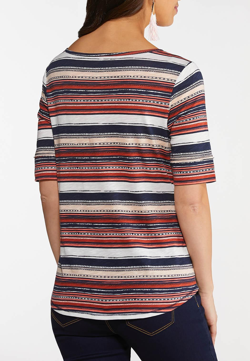 Plus Size Coral Stripe Top (Item #44148238)