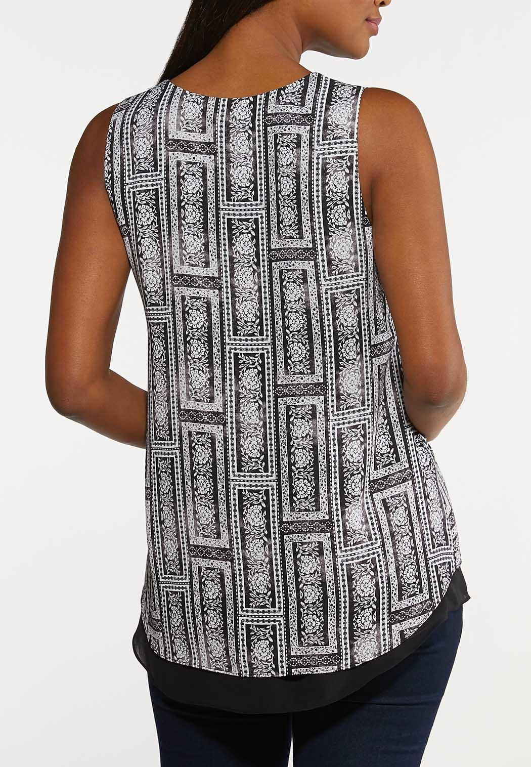 Plus Size Black And White Patchwork Tank (Item #44148267)