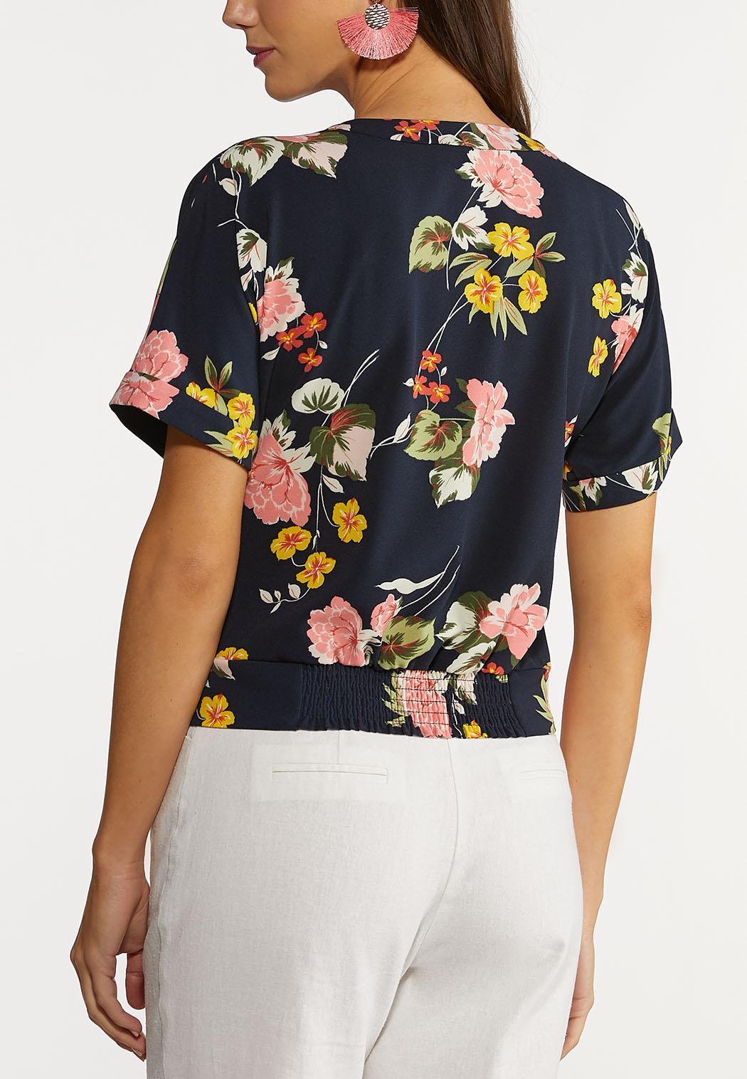 Plus Size Navy Floral Faux Wrap Top (Item #44148438)