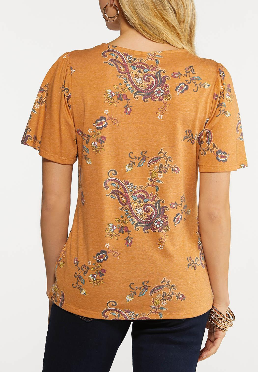 Plus Size Paisley Lace Trim Tee (Item #44148476)