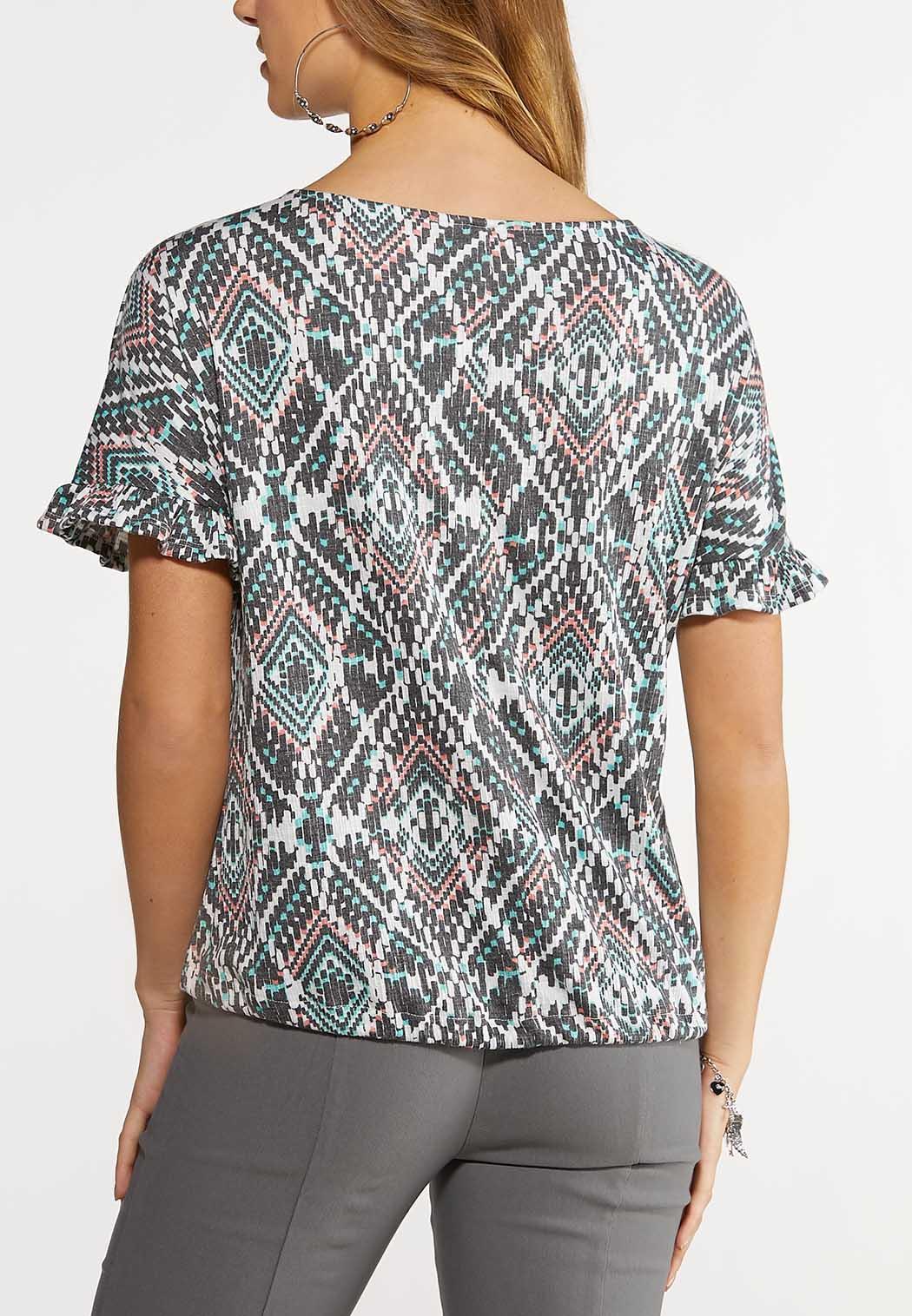 Aztec Ruffled Sleeve Top (Item #44148622)