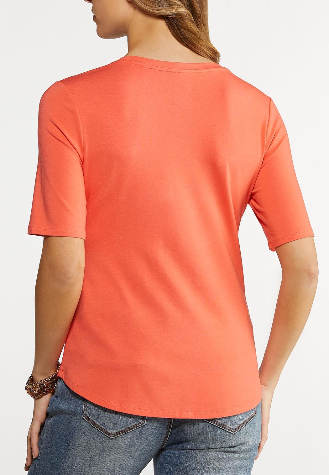 Solid V-Neck Knit Top (Item #44148841)