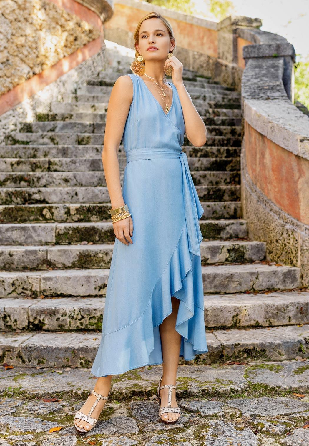 Plus Size Ruffled Chambray Dress (Item #44149404)