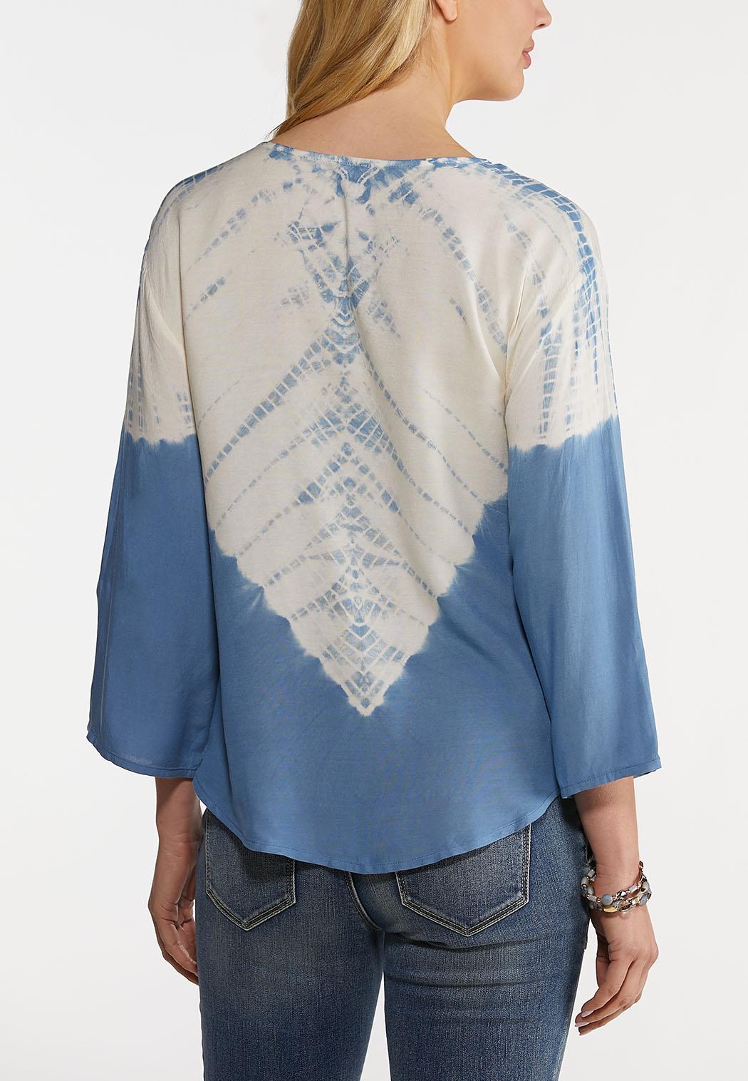 Plus Size Tie Front Tie Dye Top (Item #44151775)