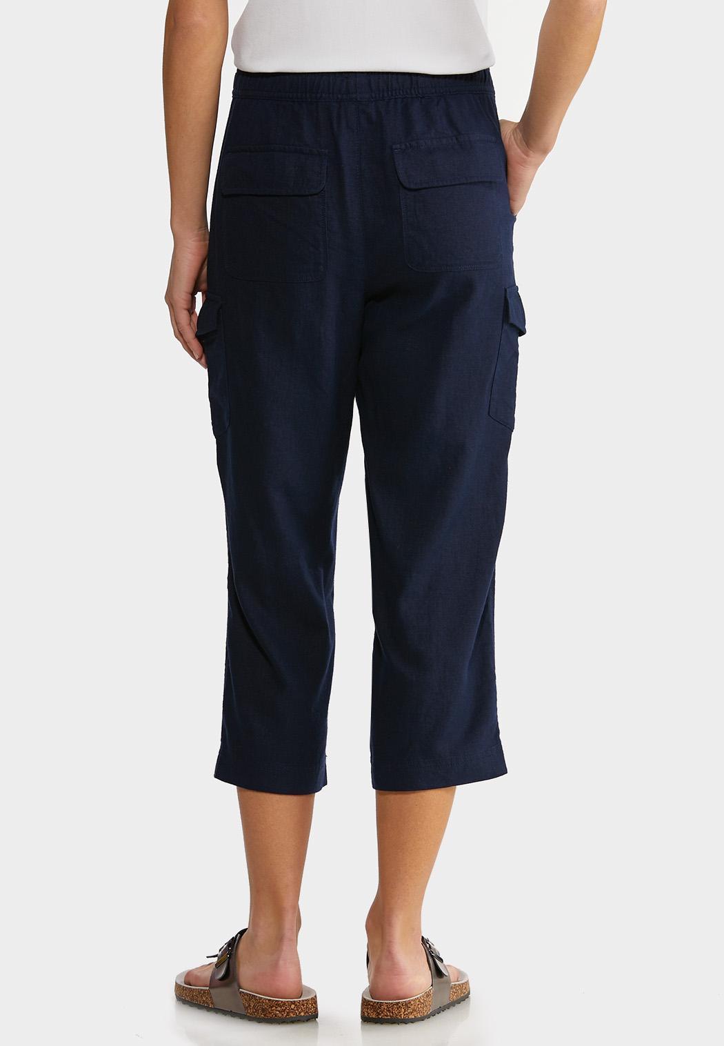 Linen Crop Cargo Pants (Item #44152944)