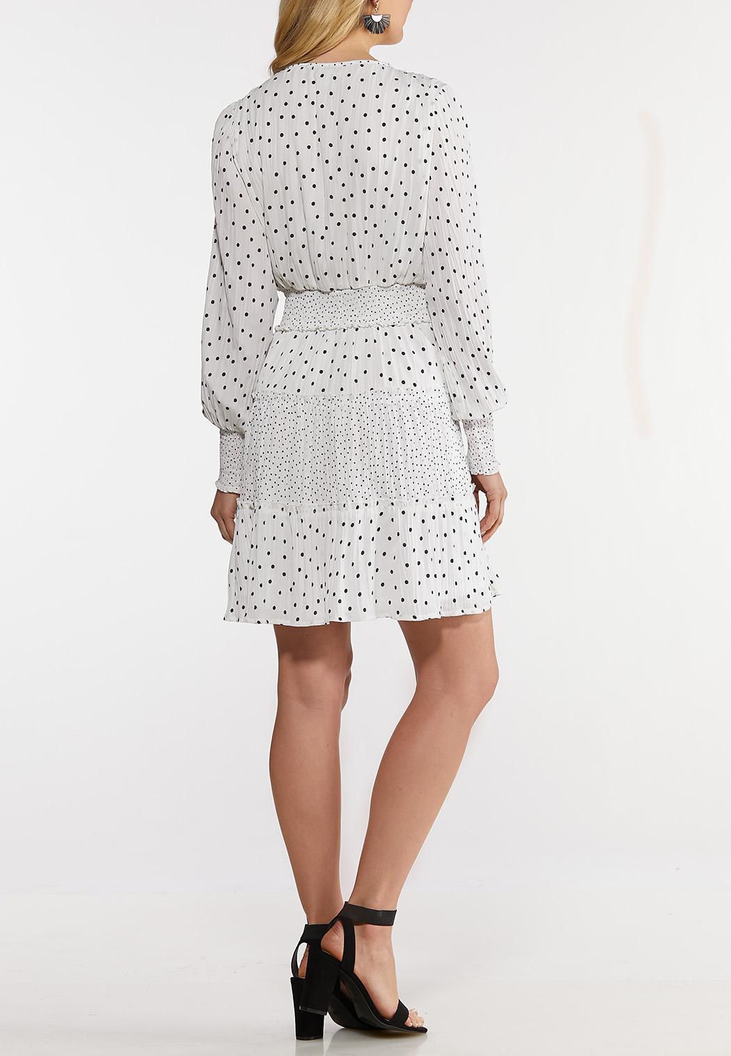 Black White Dotted Smocked Dress (Item #44153069)