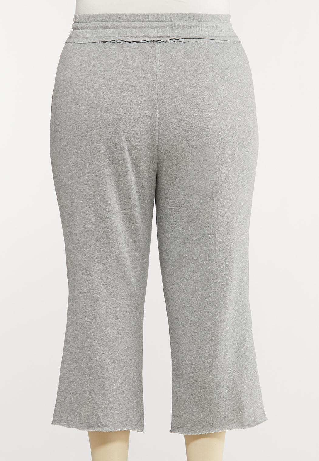 Plus Size Gray Cropped Athleisure Pants (Item #44153121)