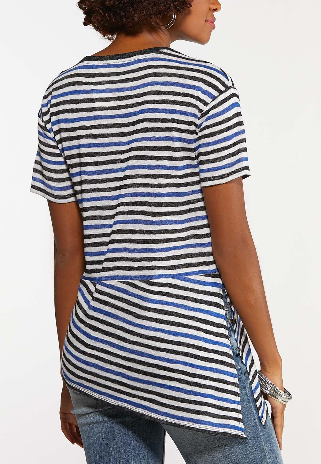 Plus Size Stripe Asymmetrical Top (Item #44154331)
