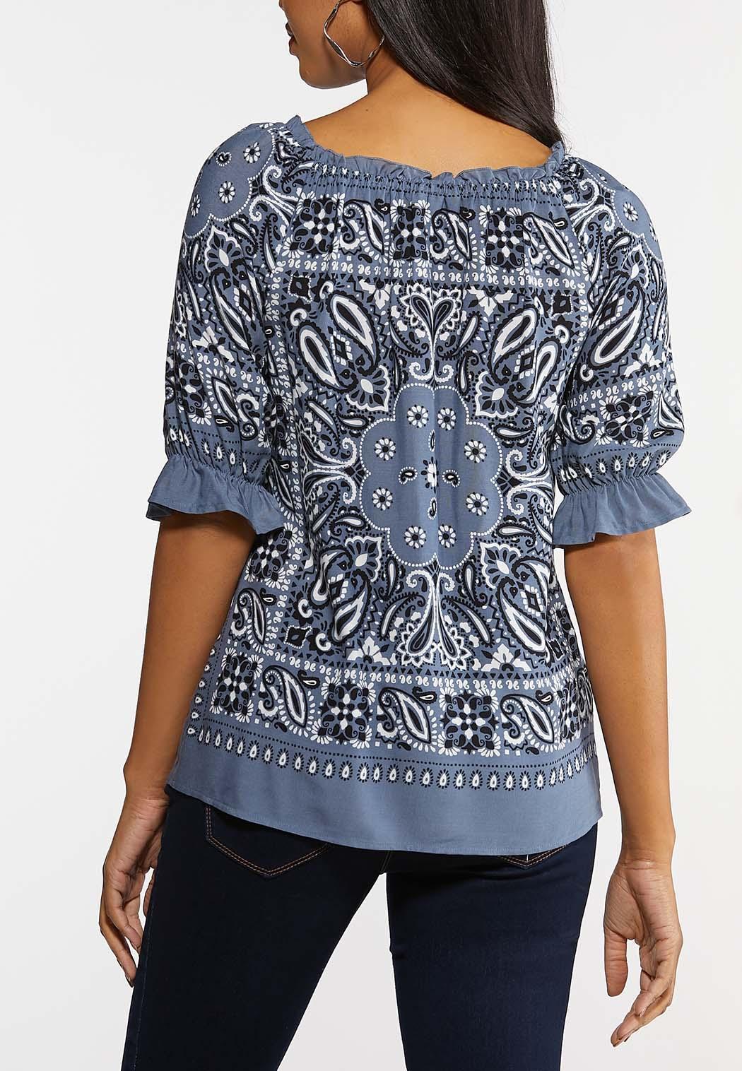 Plus Size Bandana Ruffled Sleeve Top (Item #44154573)