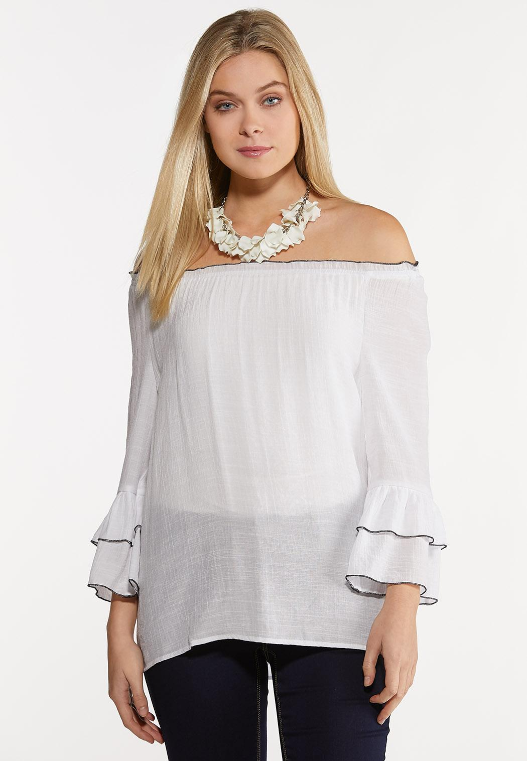 White Crepe Poet Top (Item #44154591)