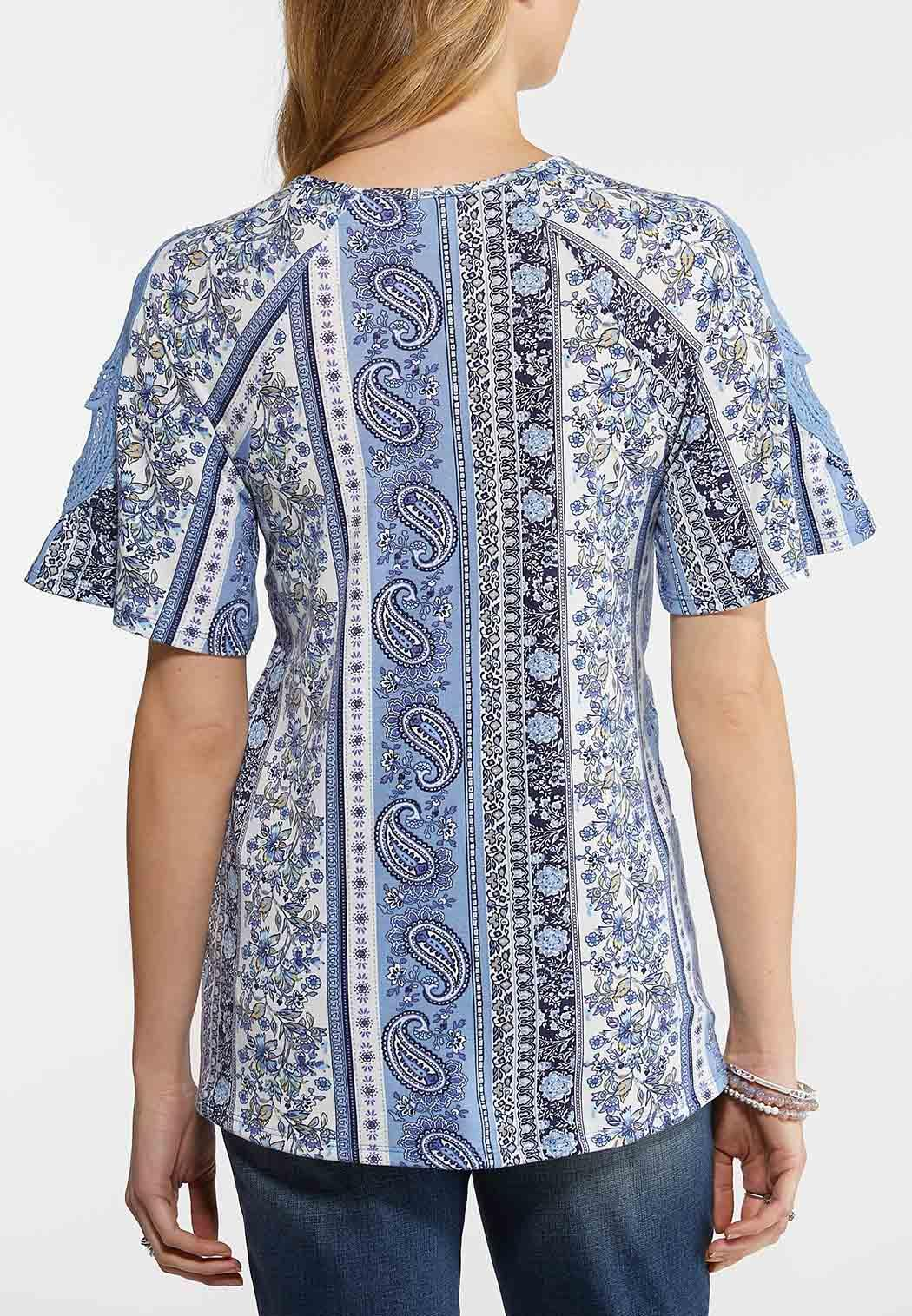 Paisley Crochet Sleeve Top (Item #44154744)