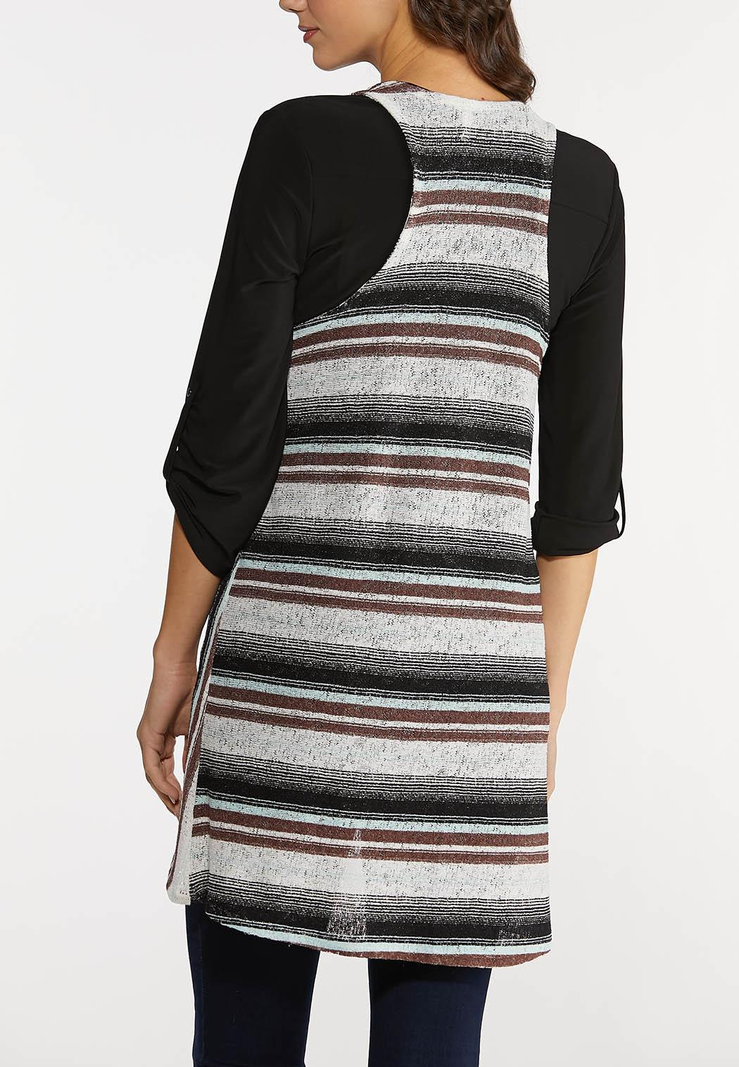 Plus Size Stripe Print Hacci Vest (Item #44154853)