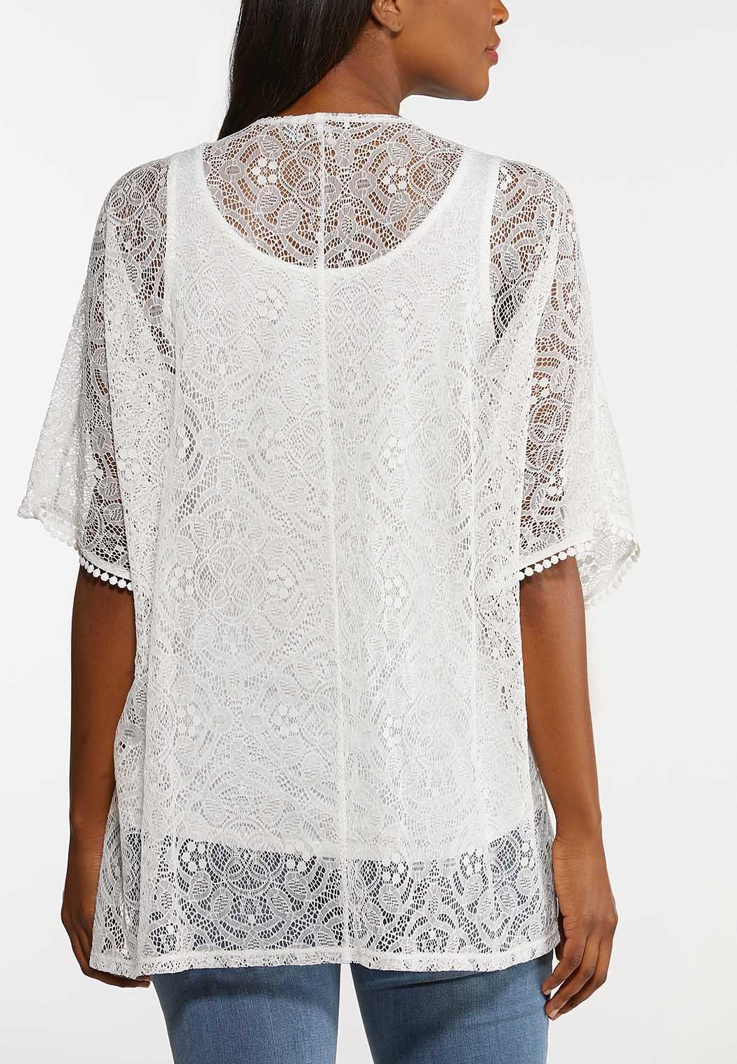 Plus Size Ivory Lace Cardigan Set (Item #44154952)