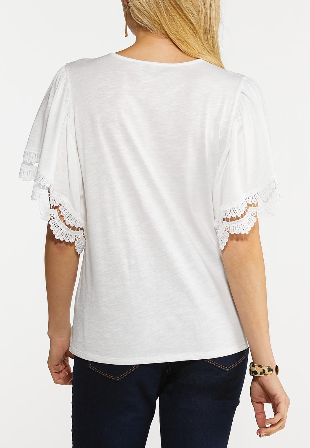Plus Size Crochet Flutter Sleeve Tee (Item #44155162)
