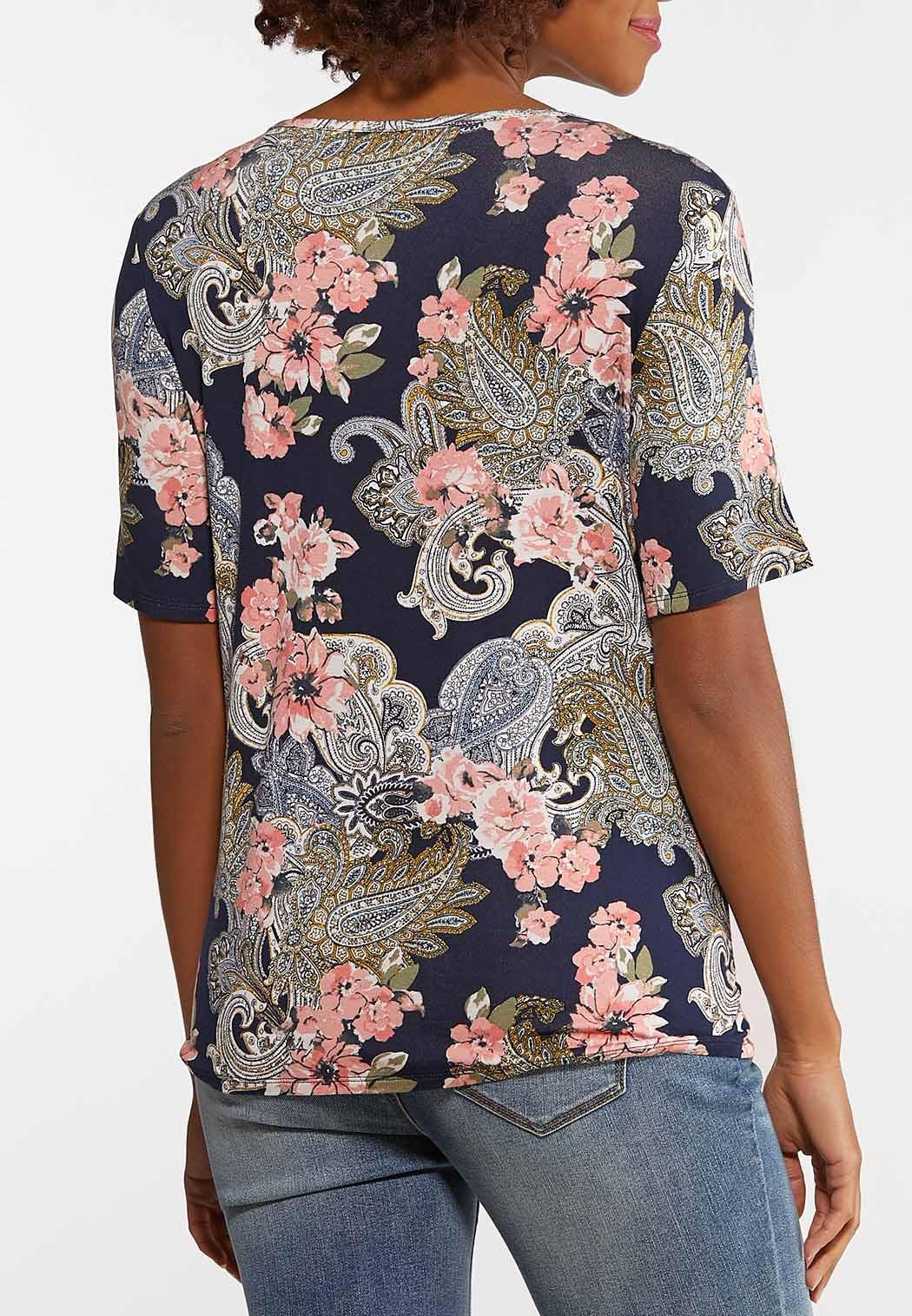 Paisley Floral Tie Front Top (Item #44155713)