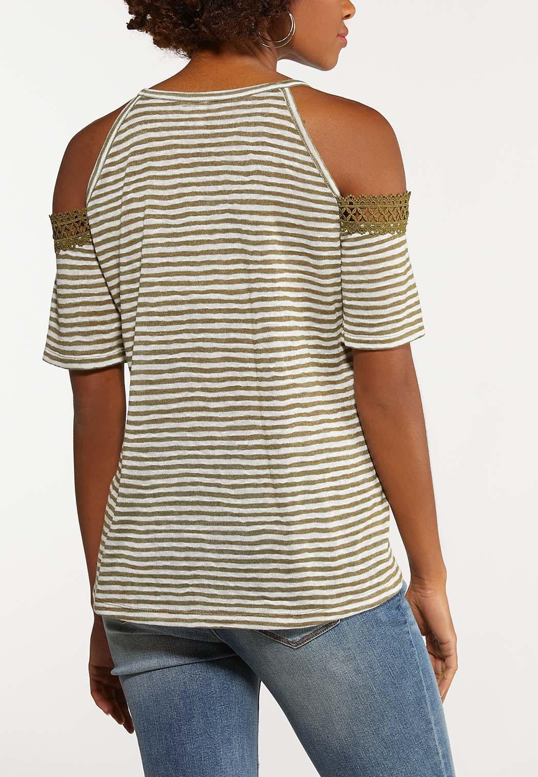 Stripe Crochet Cold Shoulder Top (Item #44155876)