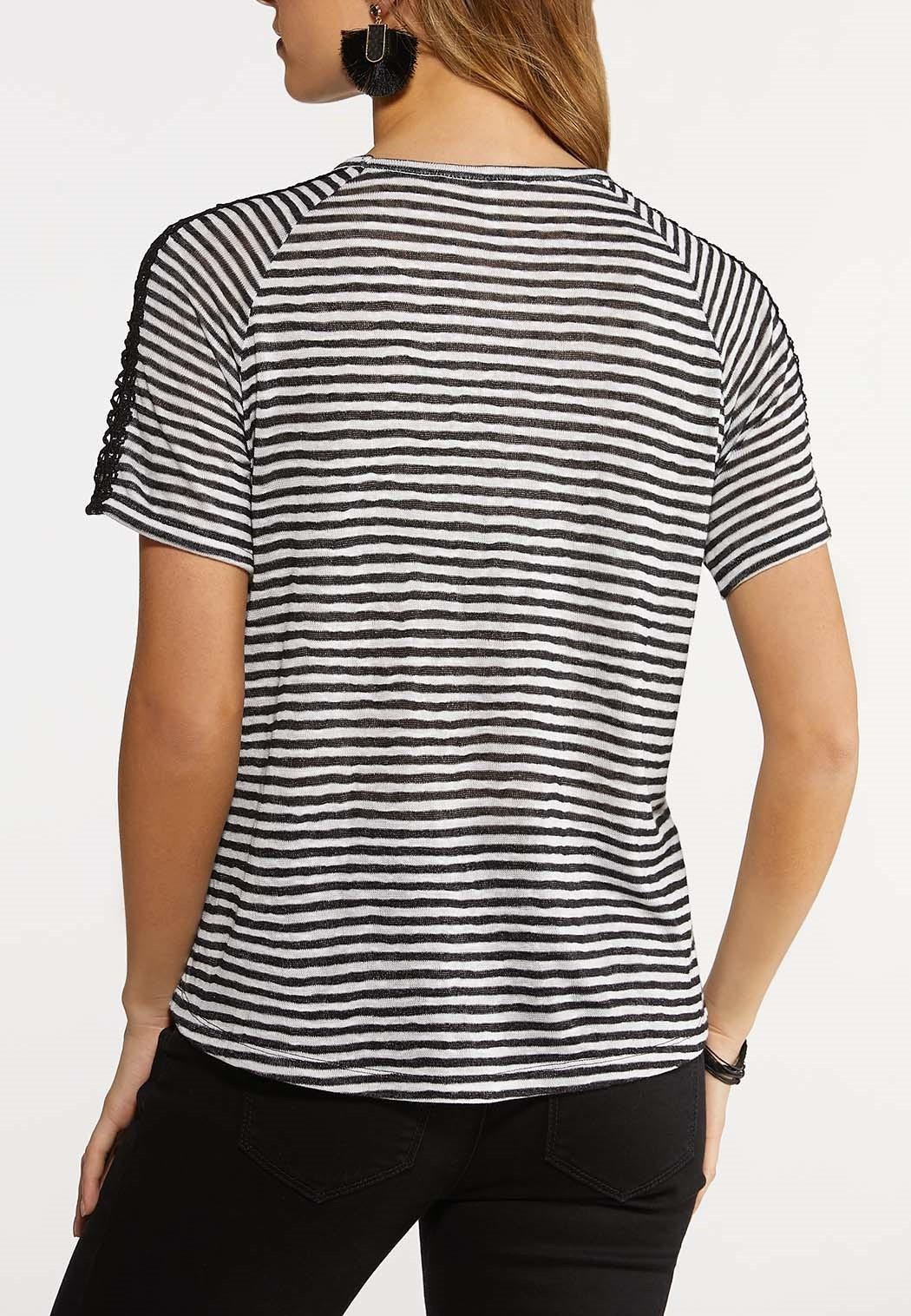 Plus Size Crochet Stripe Top (Item #44155947)