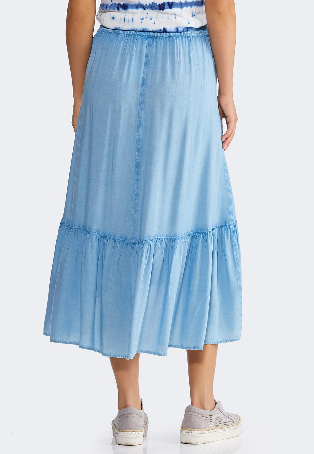 Chambray Tiered Midi Skirt (Item #44156172)