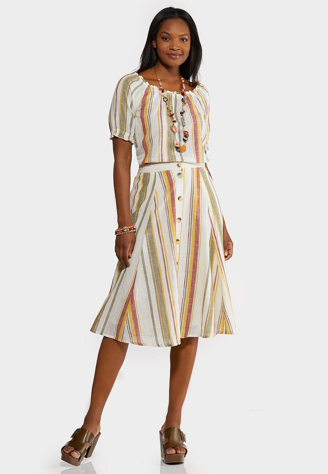 Linen Stripe Button Front Skirt (Item #44156262)