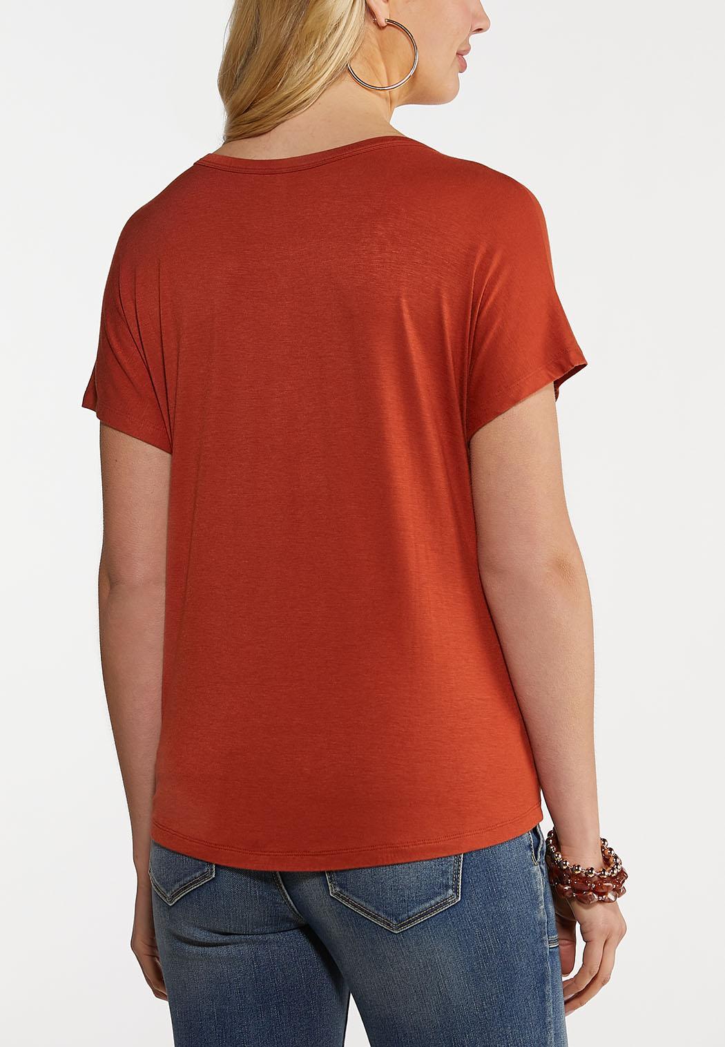 Plus Size Button Tie Front Top (Item #44156906)