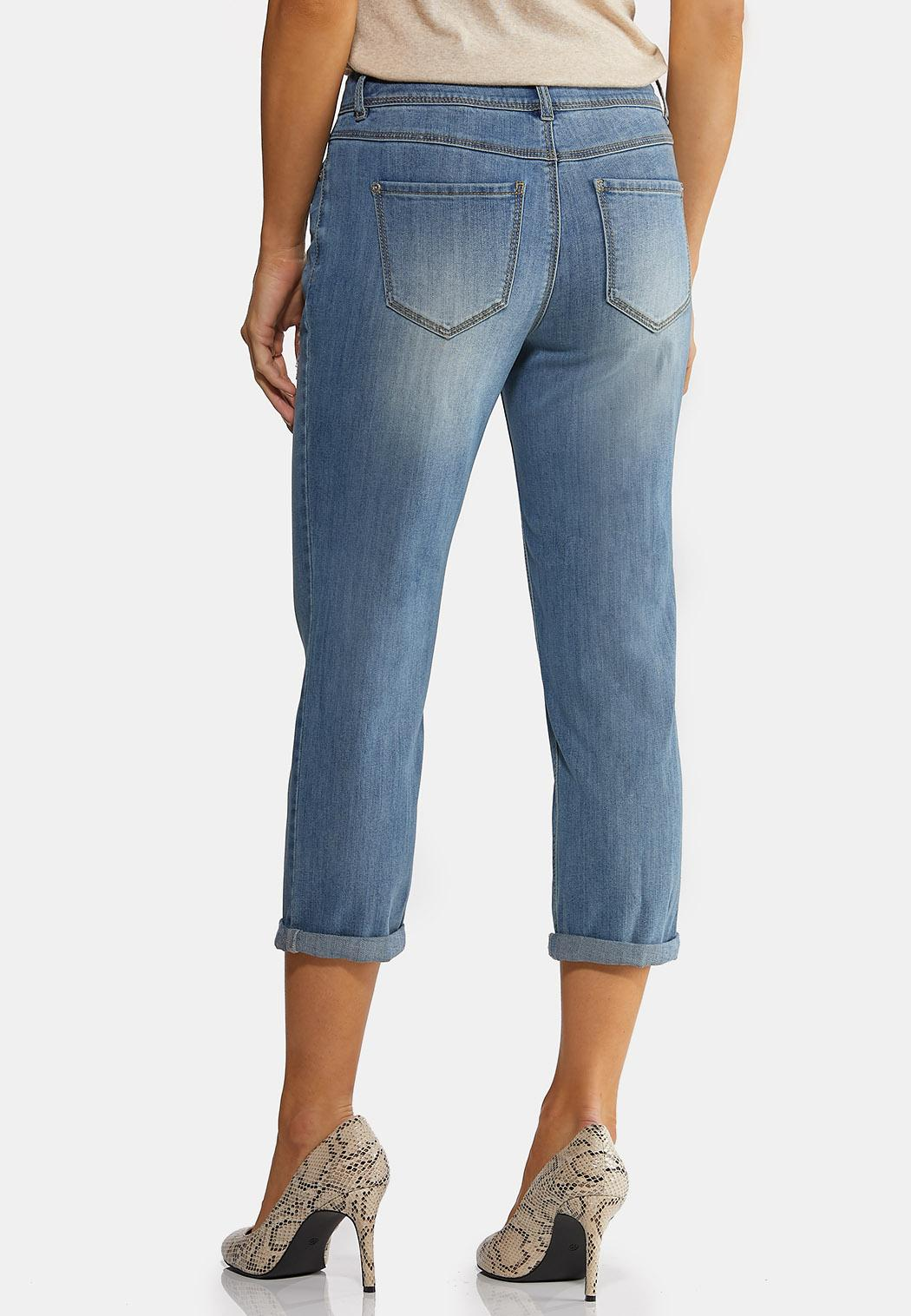Cropped Distressed Girlfriend Jeans (Item #44156970)