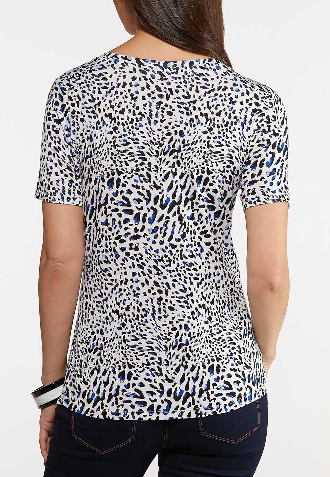 Plus Size Navy Leopard Top (Item #44157018)