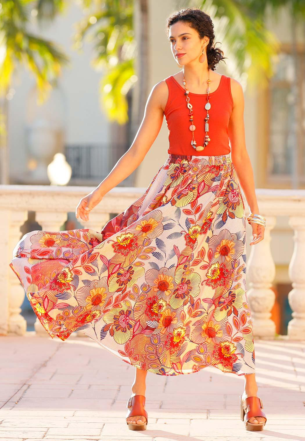 Plus Size Floral Wide Sweep Maxi Skirt (Item #44157080)