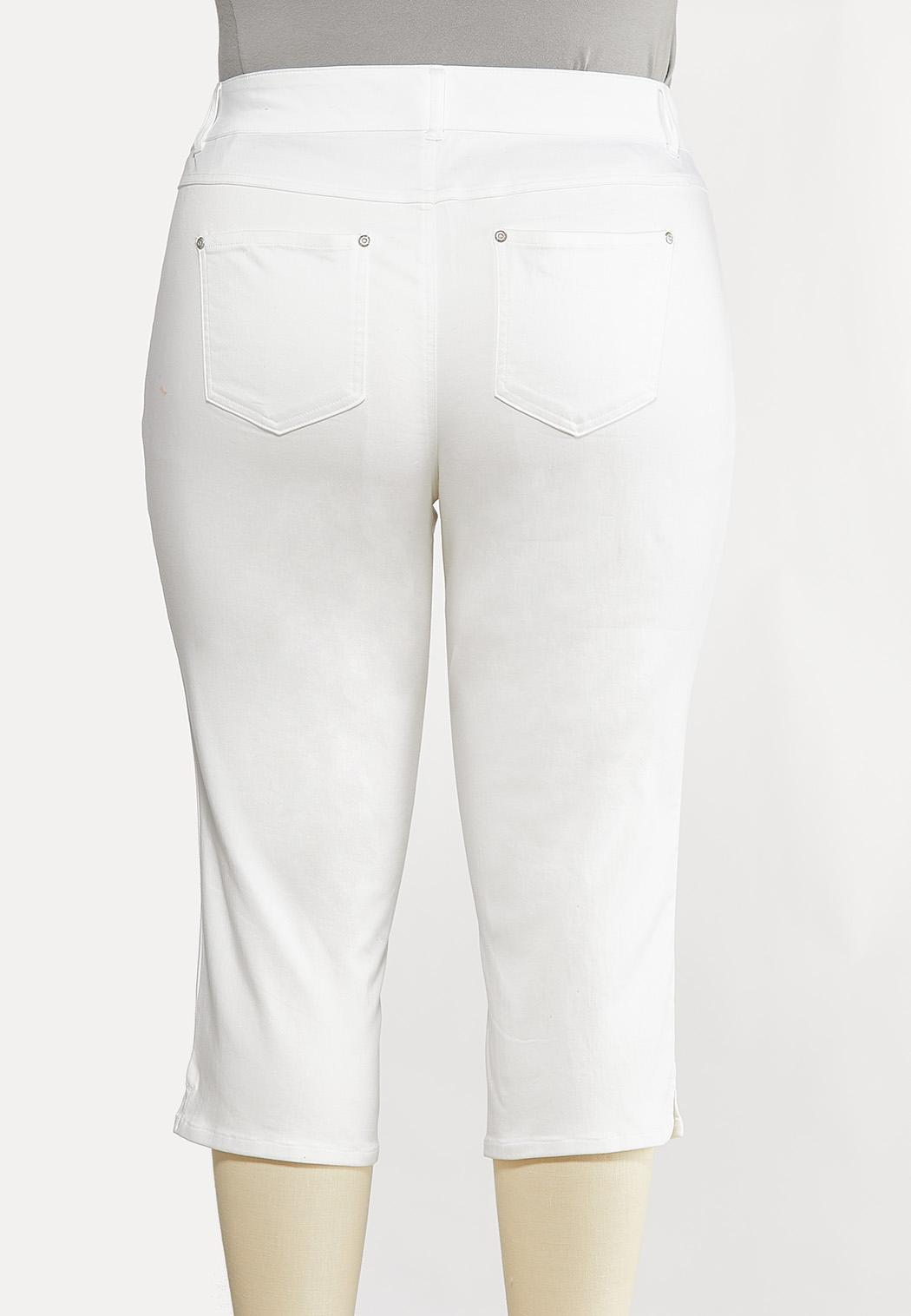 Plus Size Cropped White Skinny Jeans (Item #44157191)