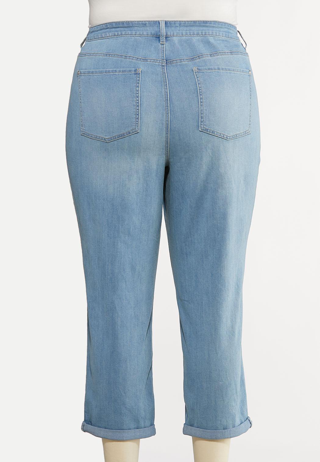 Plus Size Cropped Boyfriend Jeans (Item #44157216)