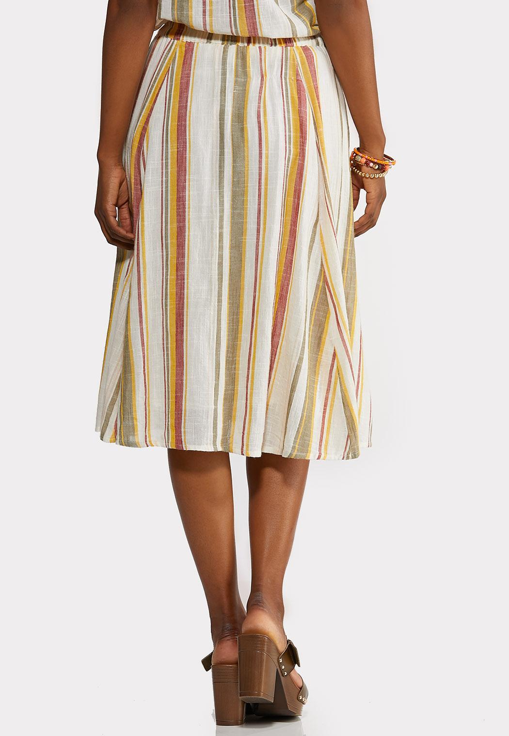 Plus Size Linen Stripe Button Front Skirt (Item #44158132)