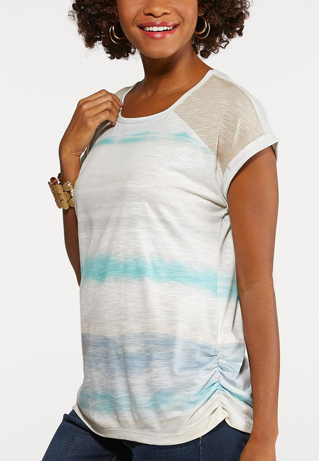 Muted Ruched Stripe Tee (Item #44158803)