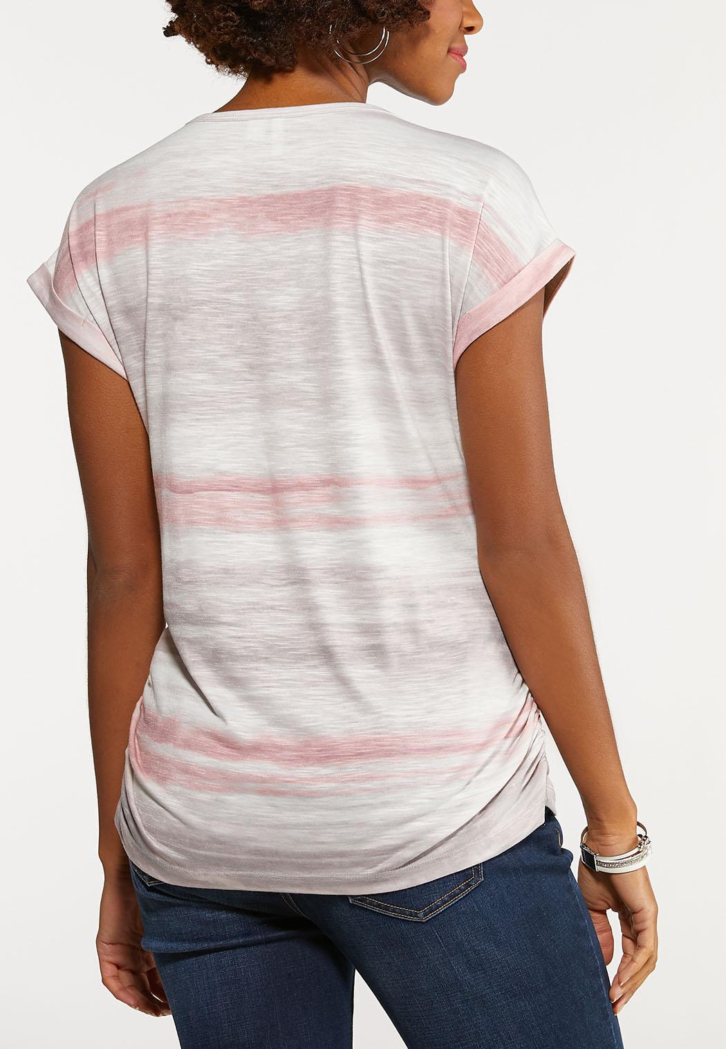 Plus Size Striped Ruched Side Tee (Item #44158813)