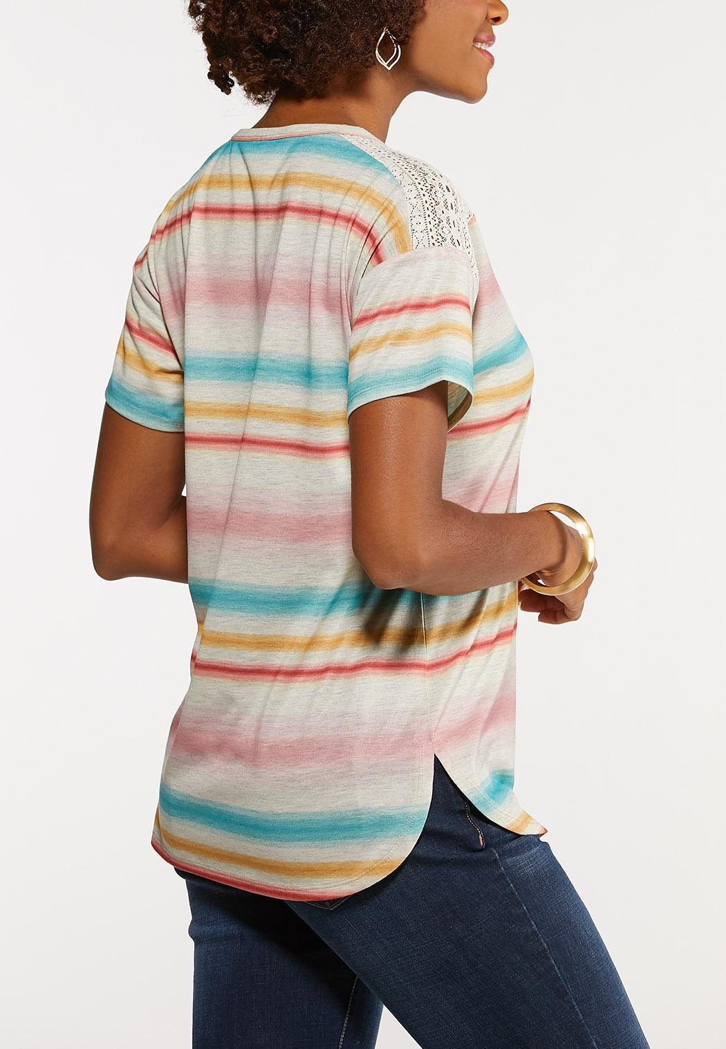 Plus Size Stripe Lace Shoulder Tee (Item #44158841)