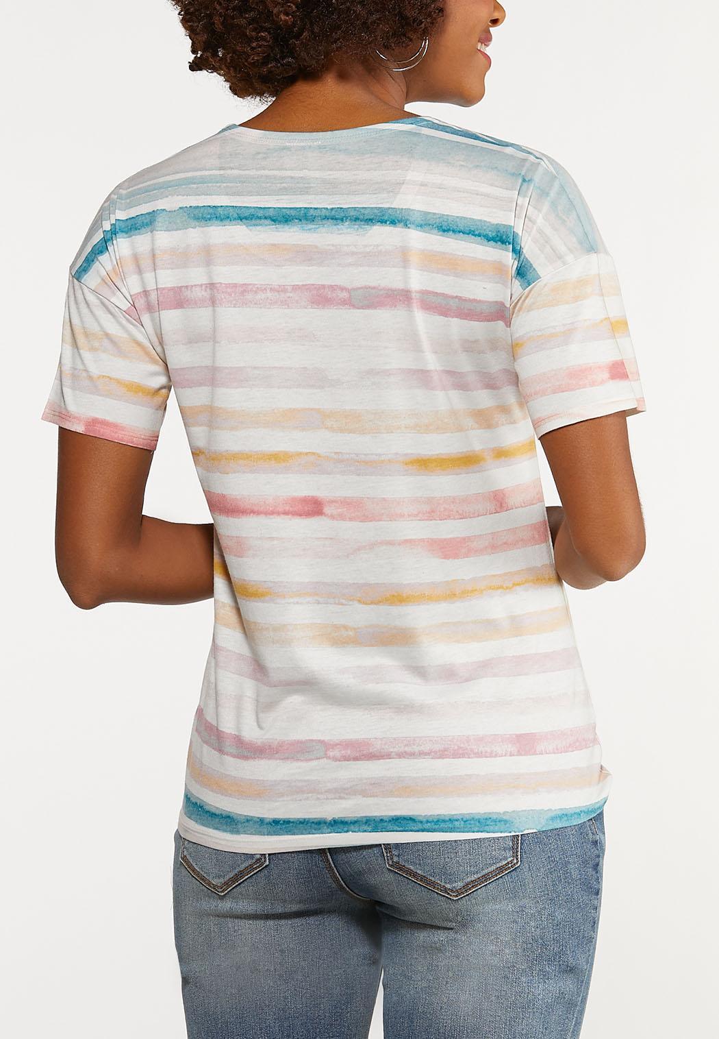 Plus Size Stripe Tie Hem Tee (Item #44158877)