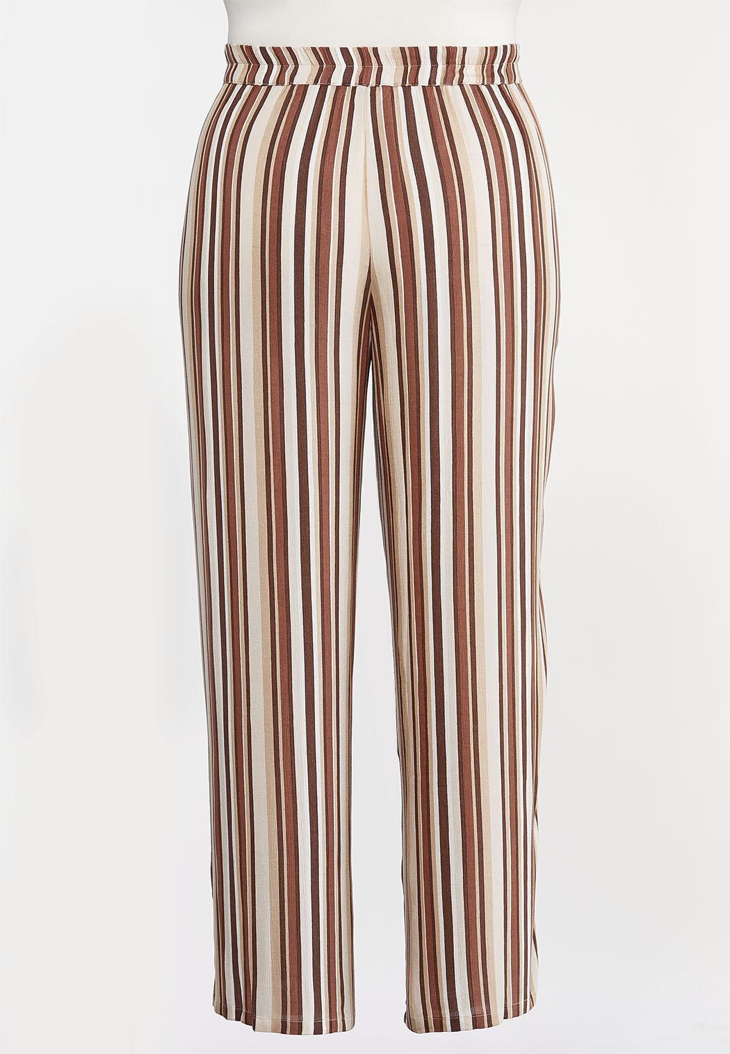 Plus Size Gauzy Tie Waist Stripe Pants (Item #44159732)