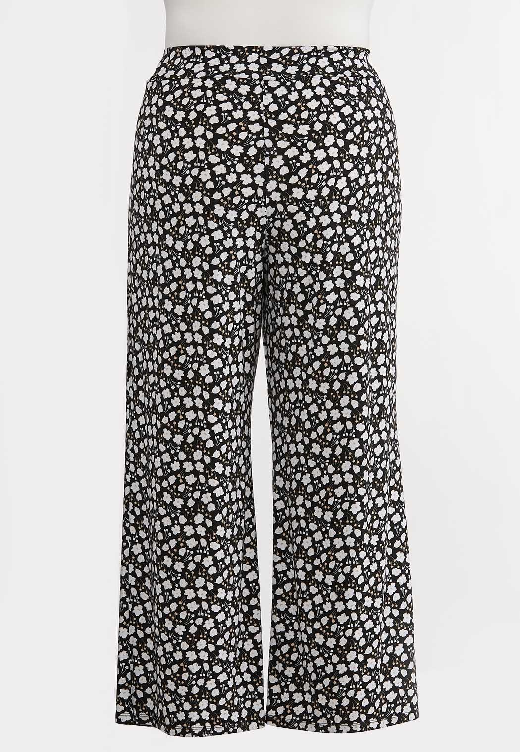 Plus Size Bitty Floral Tie Waist Pants (Item #44159782)
