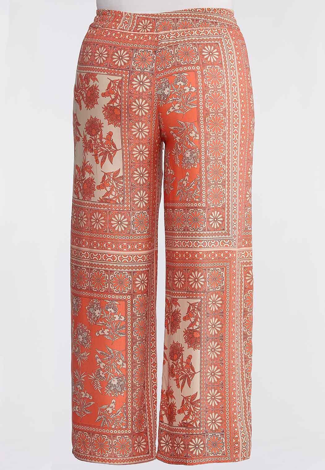 Plus Size Coral Floral Patchwork Pants (Item #44159834)