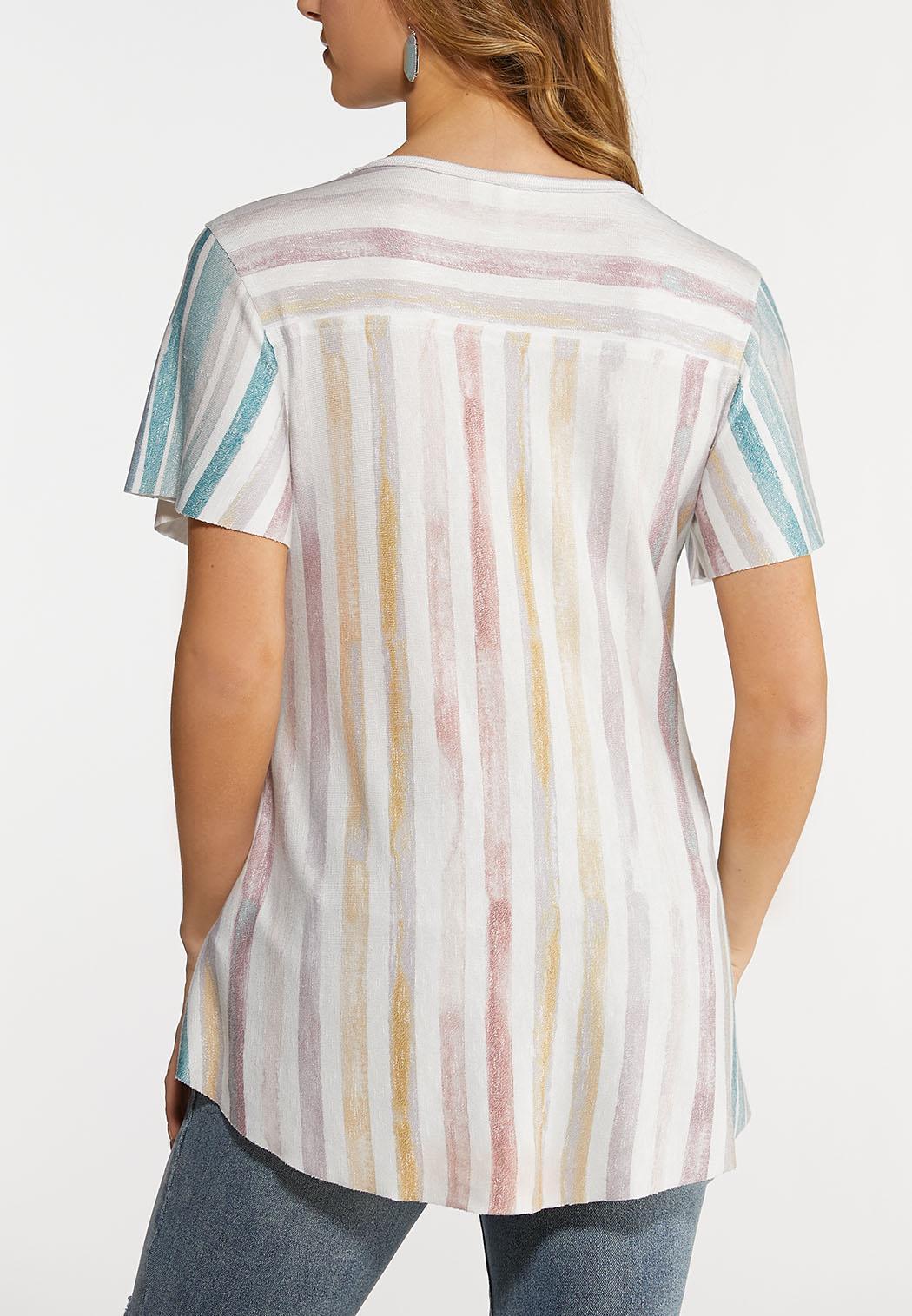 Plus Size Raw Hem Stripe Top (Item #44159887)