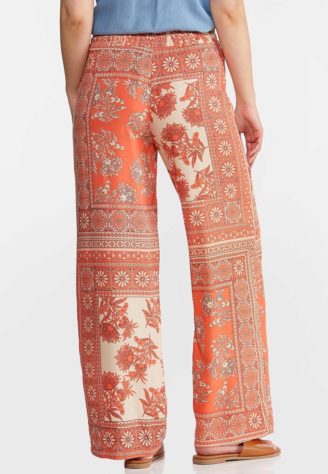Coral Floral Patchwork Pants (Item #44159913)