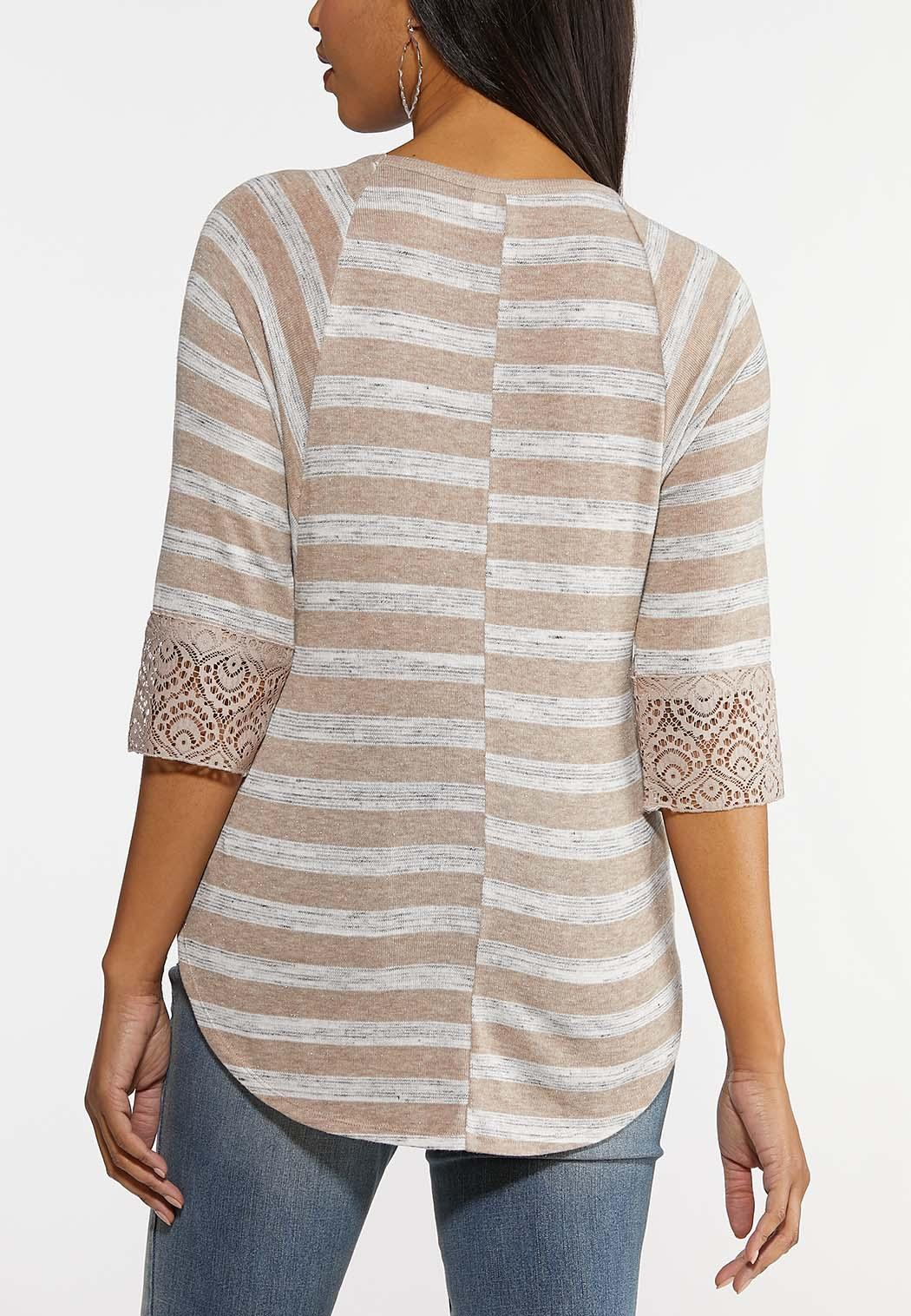Plus Size Lacy Striped Tie Hem Top (Item #44161015)