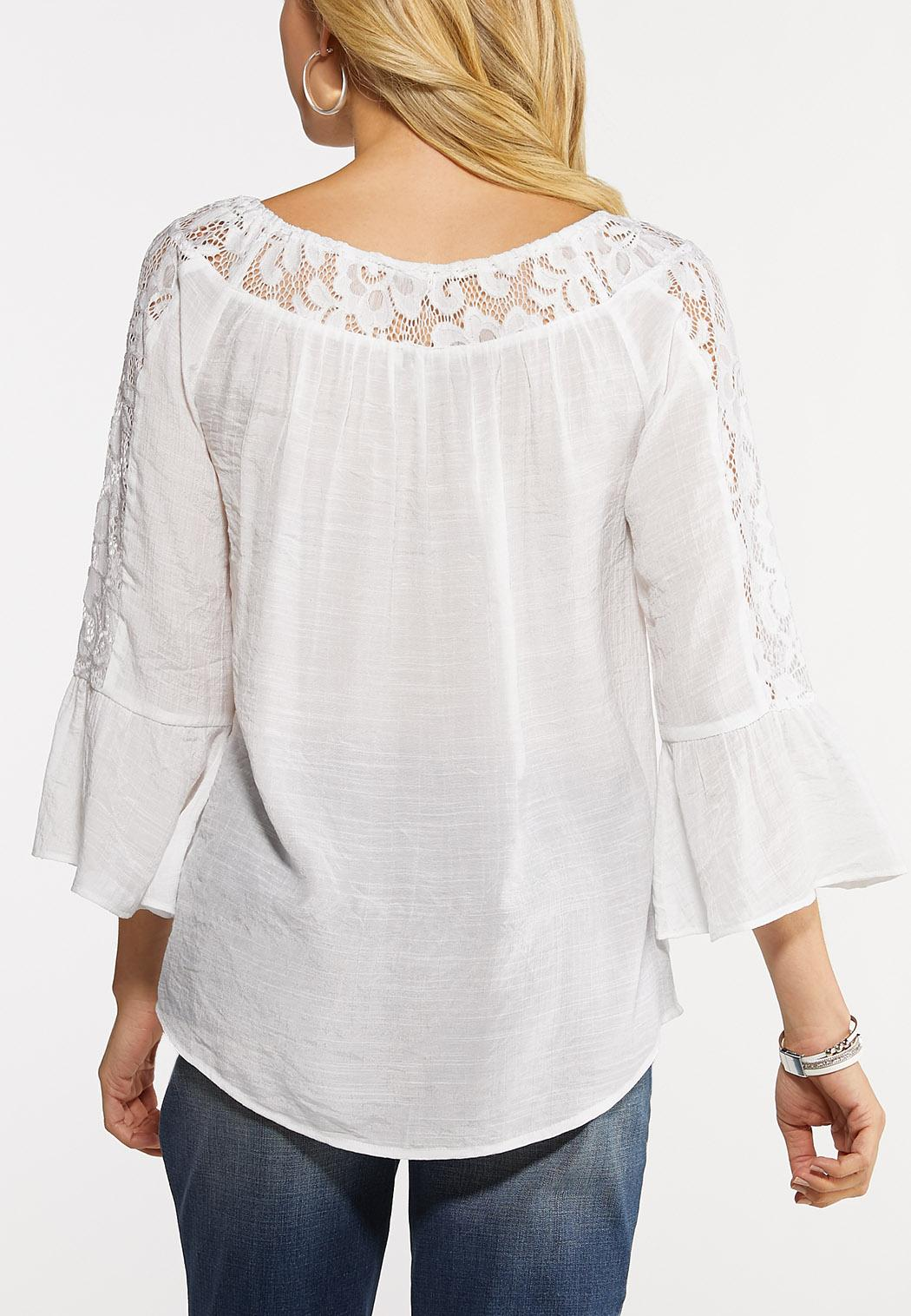 Plus Size Lacy White Crepe Top (Item #44161623)