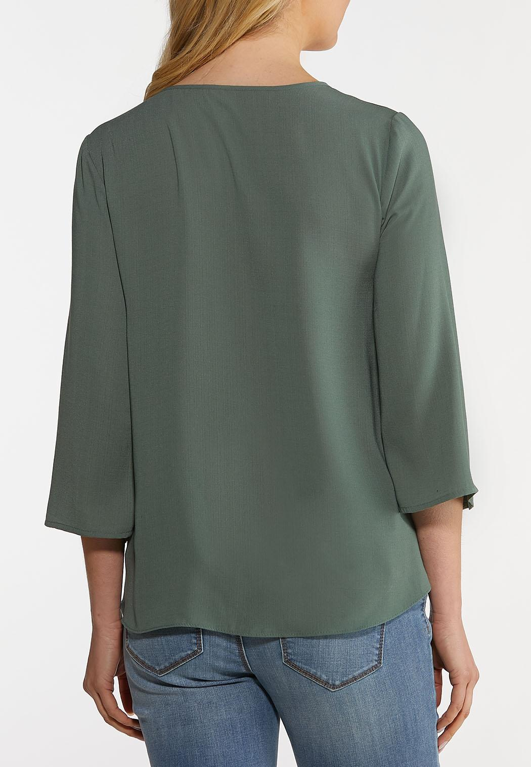 Plus Size Button Sleeve Woven Top (Item #44164222)