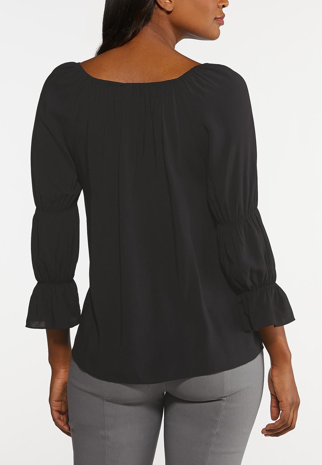 Plus Size Smocked Sleeve Poet Top (Item #44164465)