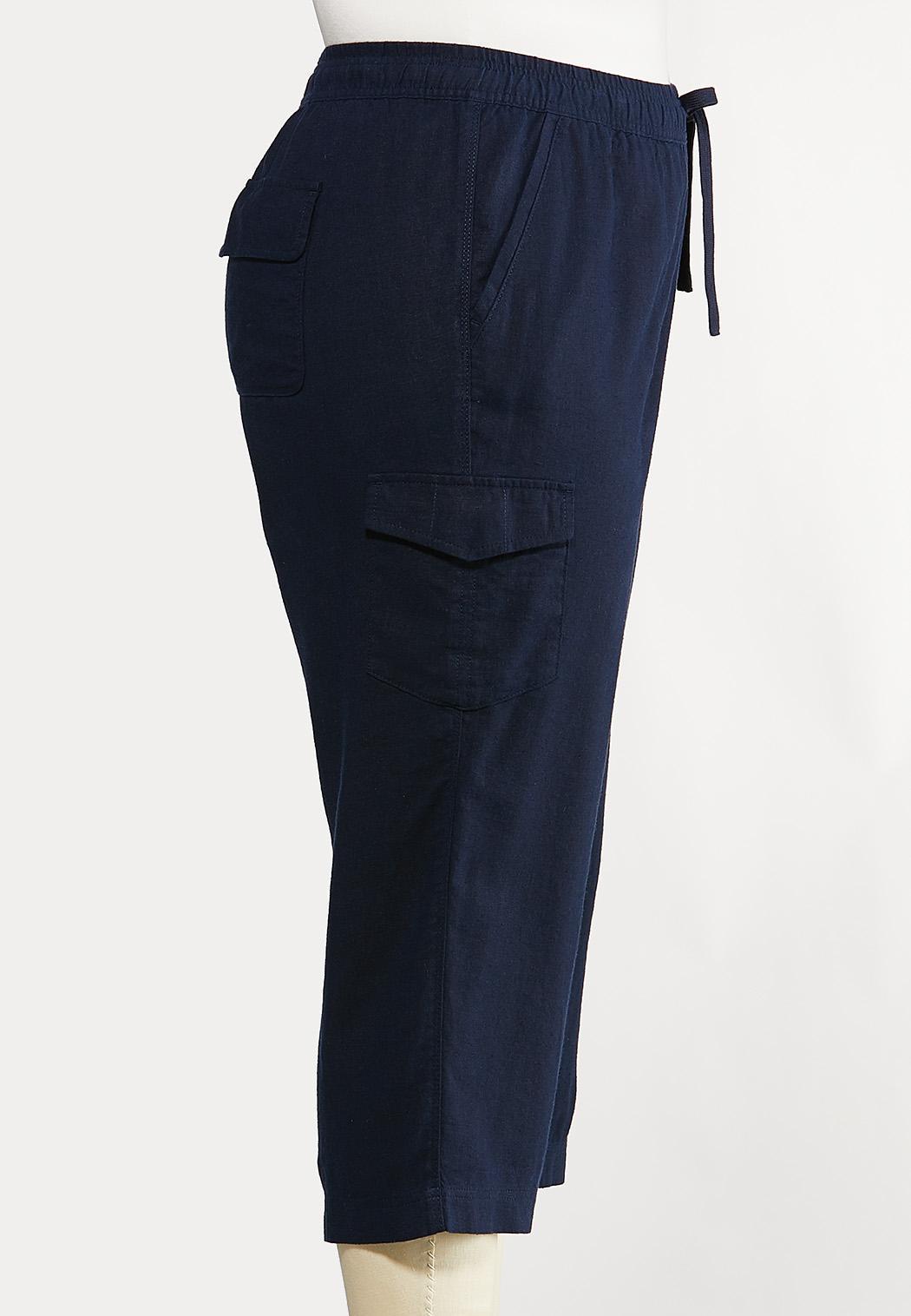 Plus Size Linen Crop Cargo Pants (Item #44165799)