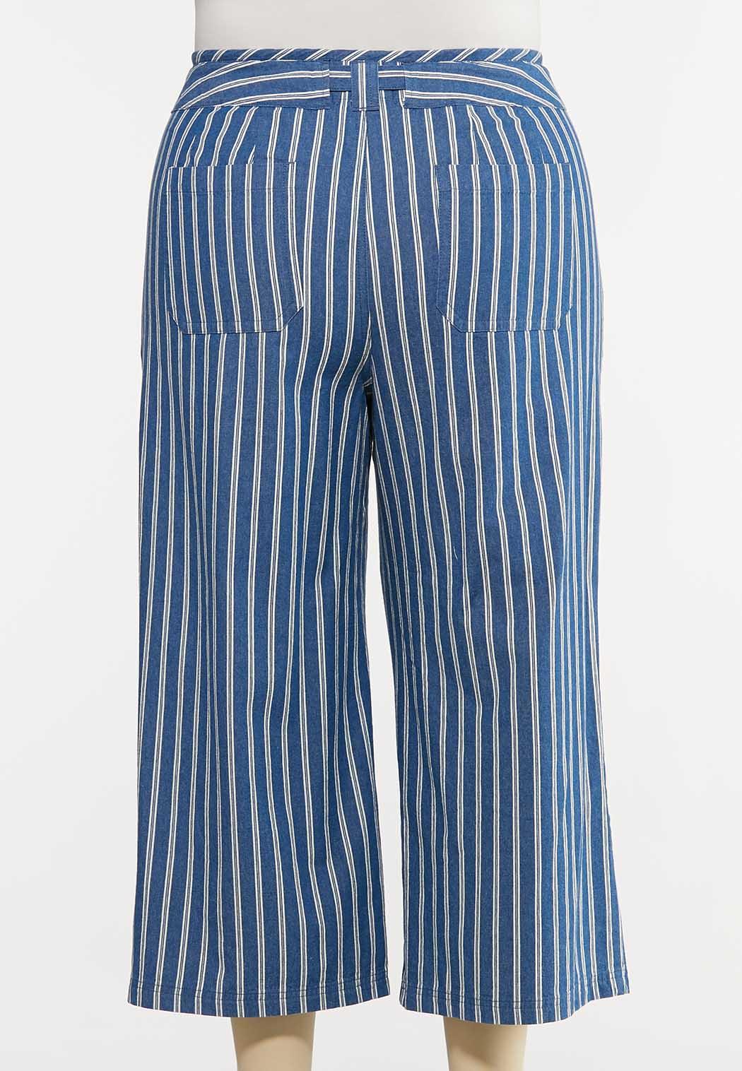 Plus Size Denim Stripe Pants (Item #44166408)