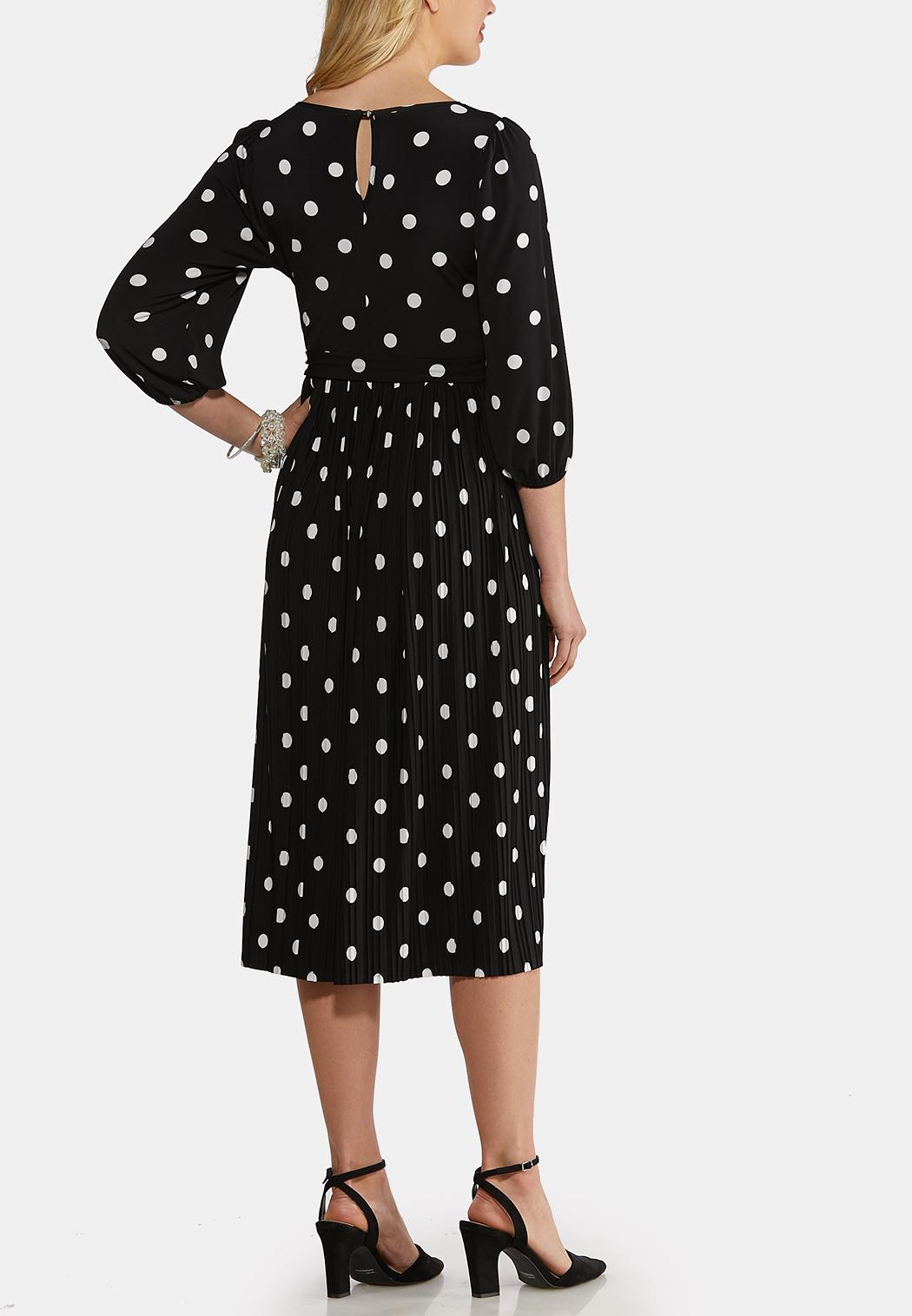 Plus Size Black White Polka Dot Dress (Item #44166465)