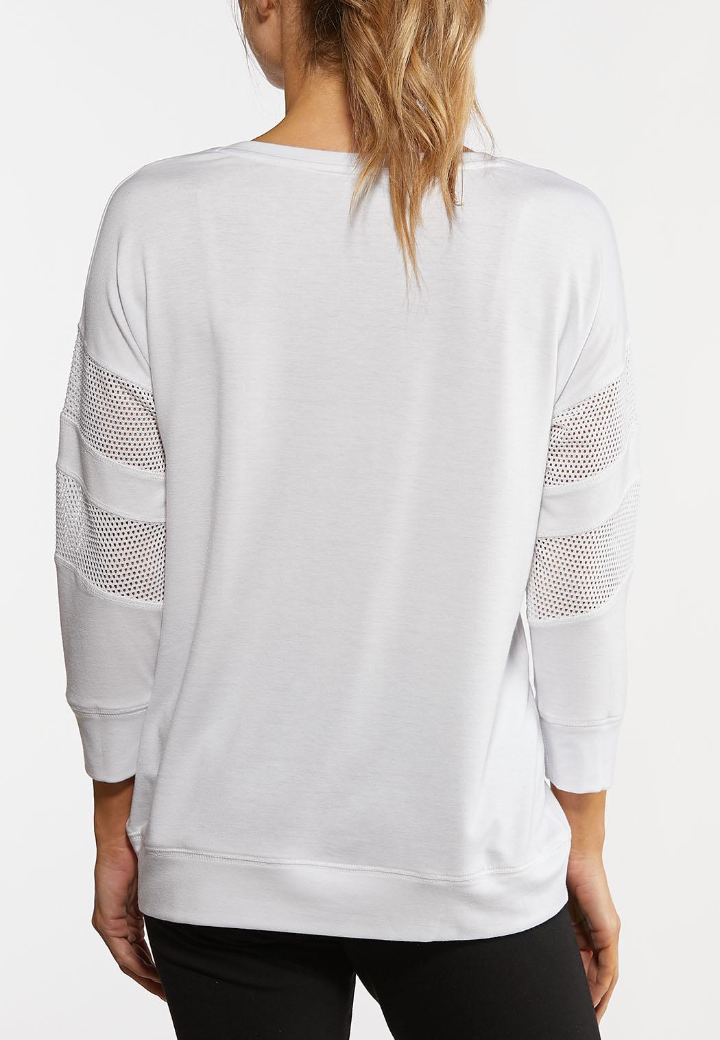Plus Size Mesh Sleeve Active Top (Item #44167921)
