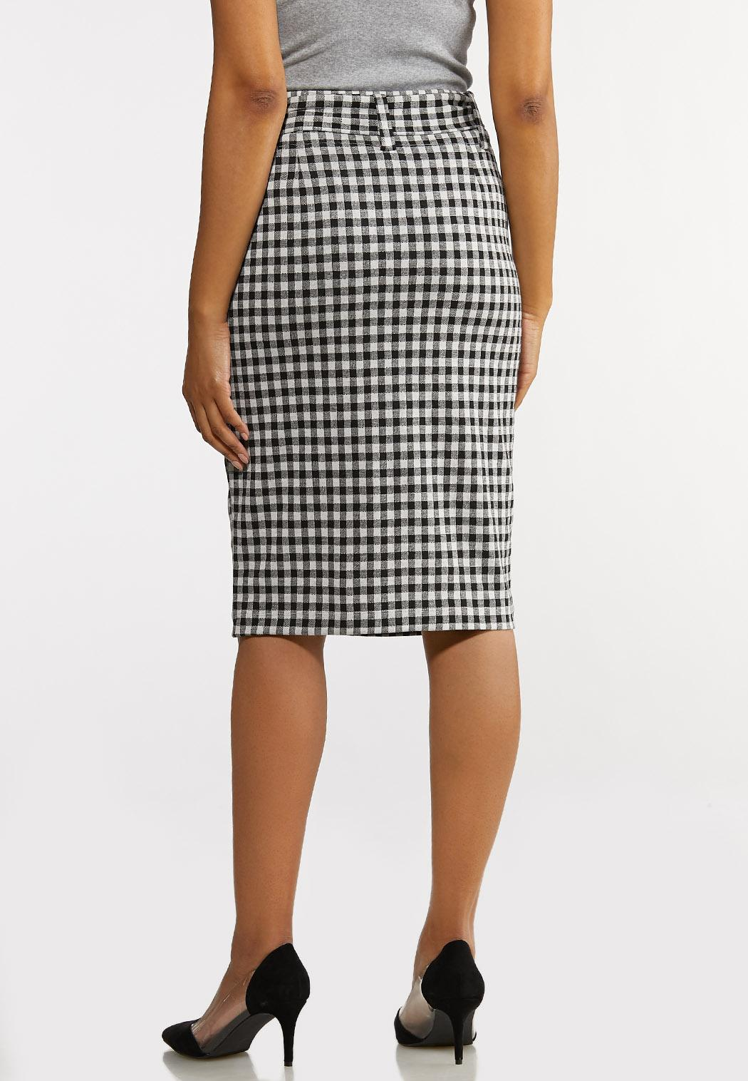 Gingham Tie Pencil Skirt (Item #44168150)