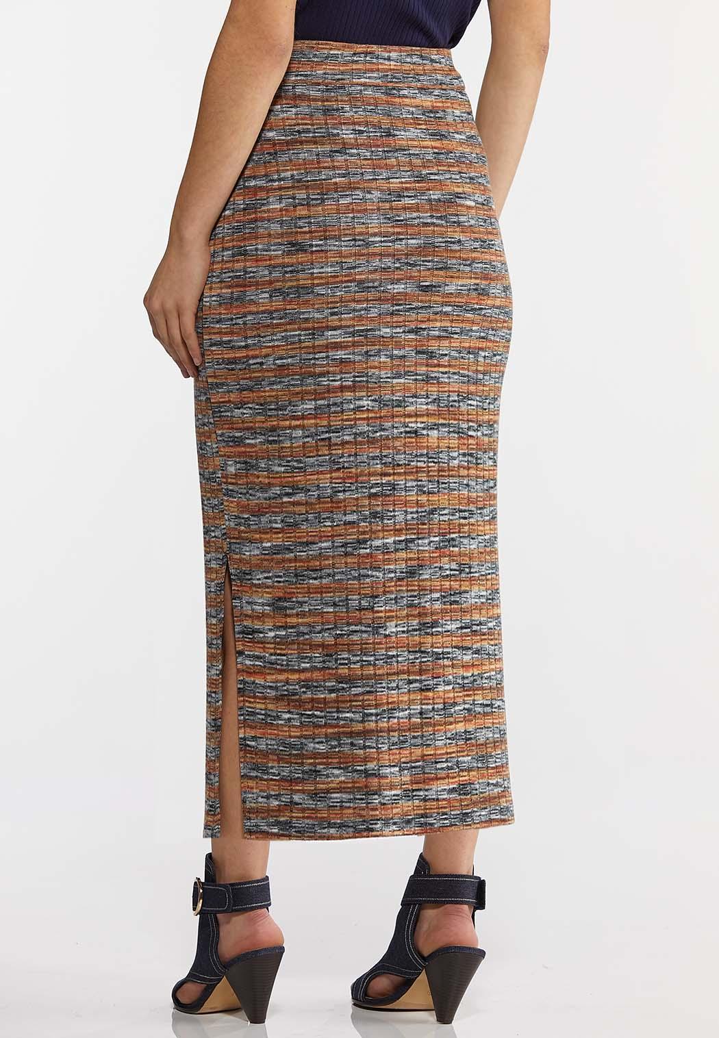 Plus Size Ribbed Midi Pencil Skirt  (Item #44168278)