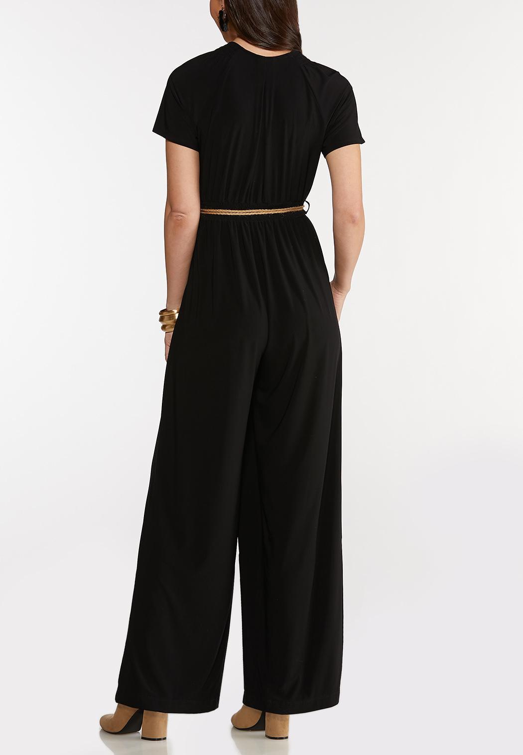 Plus Size Smocked Belted Waist Jumpsuit (Item #44168494)